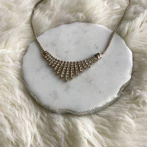 Jewelry - White & Gold Colored Rhinestone Necklace